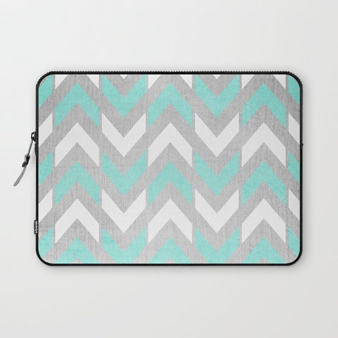 パソコンケース Teal & White Chevron on Silver Wood by Tangerine-Tane