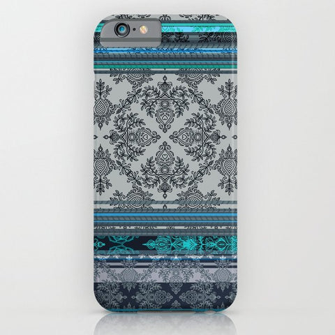 スマホケース Teal, Aqua Grey Vintage Bohemian Stripes by micklyn