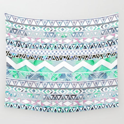 タペストリー Teal Girly Floral White Abstract Aztec Pattern by Girly Trend