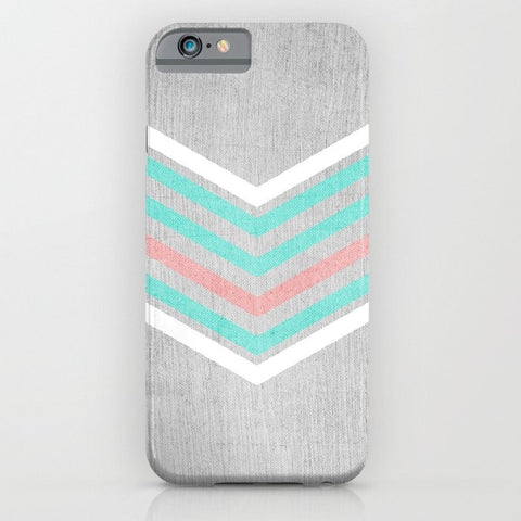 スマホケース Teal, Pink and White Chevron on Silver by Tangerine-Tane
