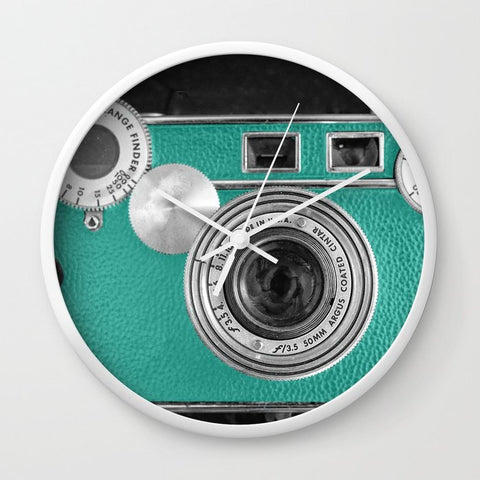 壁掛け時計 Teal retro vintage phone by Wood-n-Images