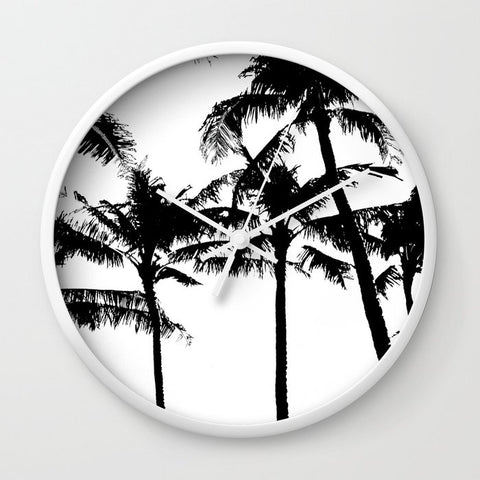 壁掛け時計 Tree of monochrome palm