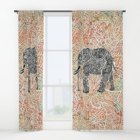 ウィンドウカーテン Tribal Paisley Elephant Colorful Henna Floral Pattern by Girly Trend