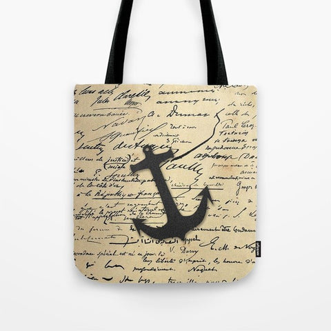 トートバッグ Vintage gray retro nautical anchor marine paper by Girly Trend