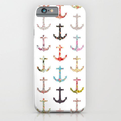 スマホケース Vintage retro sailor girly floral nautical anchors by Girly Trend