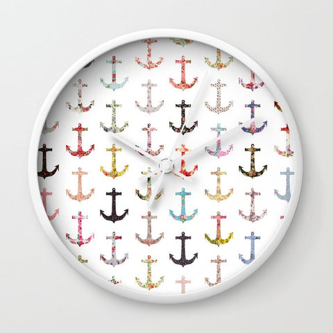 壁掛け時計 Vintage retro sailor girly floral nautical anchors by Girly Trend