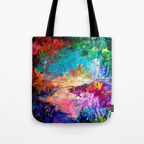 トートバッグ WELCOME TO UTOPIA Bold Rainbow Multicolor Abstract Painting Forest Nature Whimsical Fantasy Fine Art by EbiEmporium