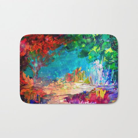 バスマット WELCOME TO UTOPIA Bold Rainbow Multicolor Abstract Painting Forest Nature Whimsical Fantasy Fine Art by EbiEmporium