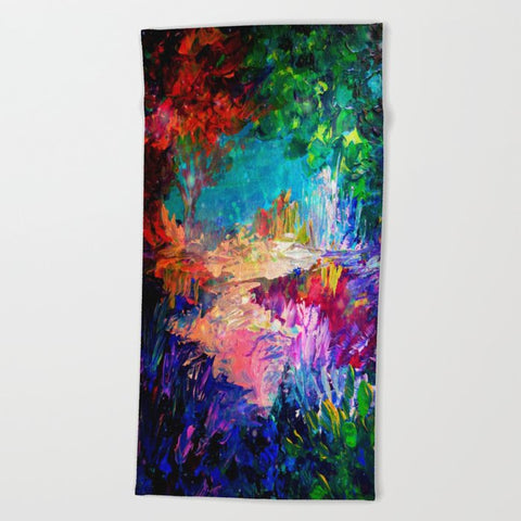 タオル WELCOME TO UTOPIA Bold Rainbow Multicolor Abstract Painting Forest Nature Whimsical Fantasy Fine Art by EbiEmporium