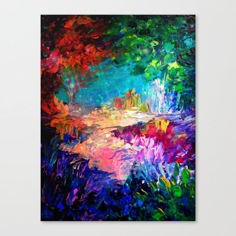 キャンバスアートプリント WELCOME TO UTOPIA Bold Rainbow Multicolor Abstract Painting Forest Nature Whimsical Fantasy Fine Art by EbiEmporium