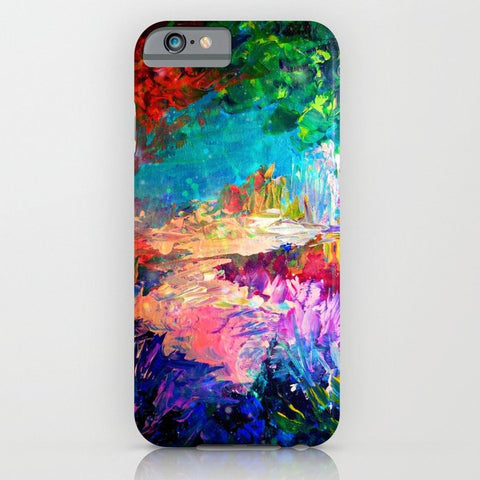 スマホケース WELCOME TO UTOPIA Bold Rainbow Multicolor Abstract Painting Forest Nature Whimsical Fantasy Fine Art by EbiEmporium