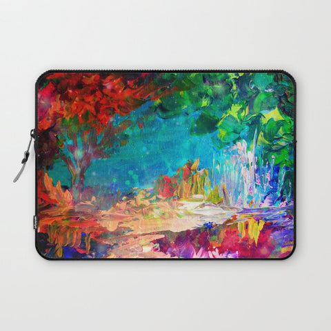 パソコンケース WELCOME TO UTOPIA Bold Rainbow Multicolor Abstract Painting Forest Nature Whimsical Fantasy Fine Art by EbiEmporium