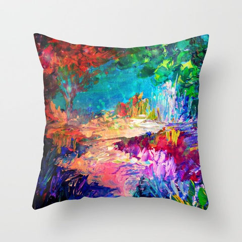 正方形 クッション・クッションカバー WELCOME TO UTOPIA Bold Rainbow Multicolor Abstract Painting Forest Nature Whimsical Fantasy Fine Art by EbiEmporium