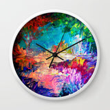 壁掛け時計 WELCOME TO UTOPIA Bold Rainbow Multicolor Abstract Painting Forest Nature Whimsical Fantasy Fine Art by EbiEmporium