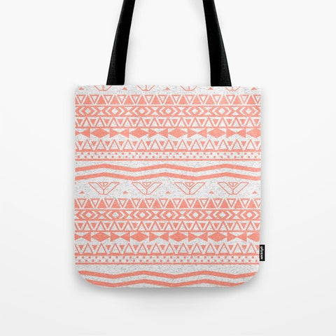 トートバッグ Whimsical Neon Coral Pink Abstract Aztec Pattern by Girly Trend