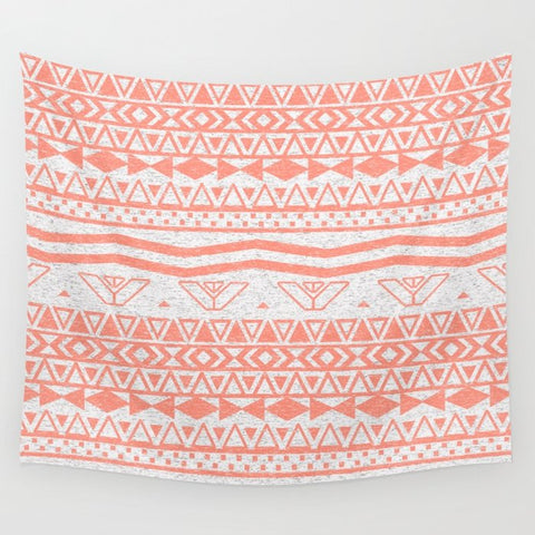 タペストリー Whimsical Neon Coral Pink Abstract Aztec Pattern by Girly Trend
