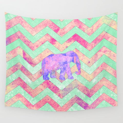 タペストリー Whimsical Purple Elephant Mint Green Pink Chevron by Girly Trend
