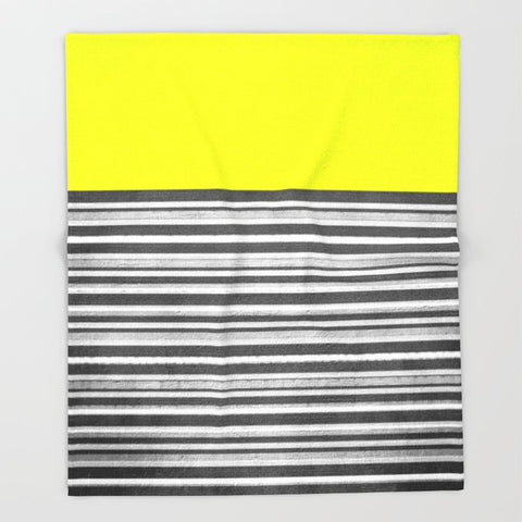 ブランケット Yellow Gray Stripes by M Studio