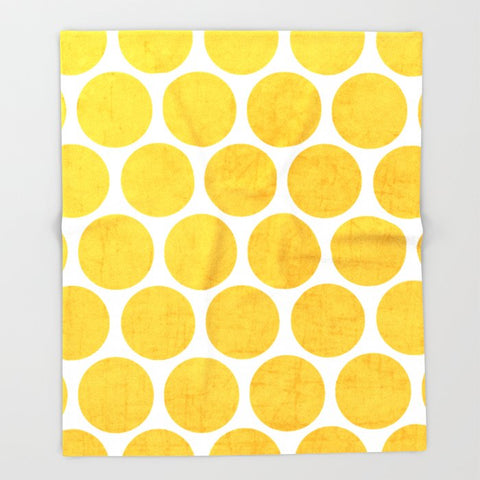 ブランケット yellow polka dots by her art