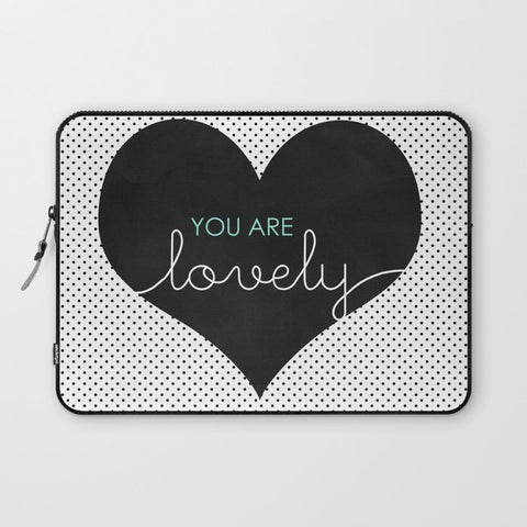 パソコンケース You Are Lovely - Typography, Charcoal Heart