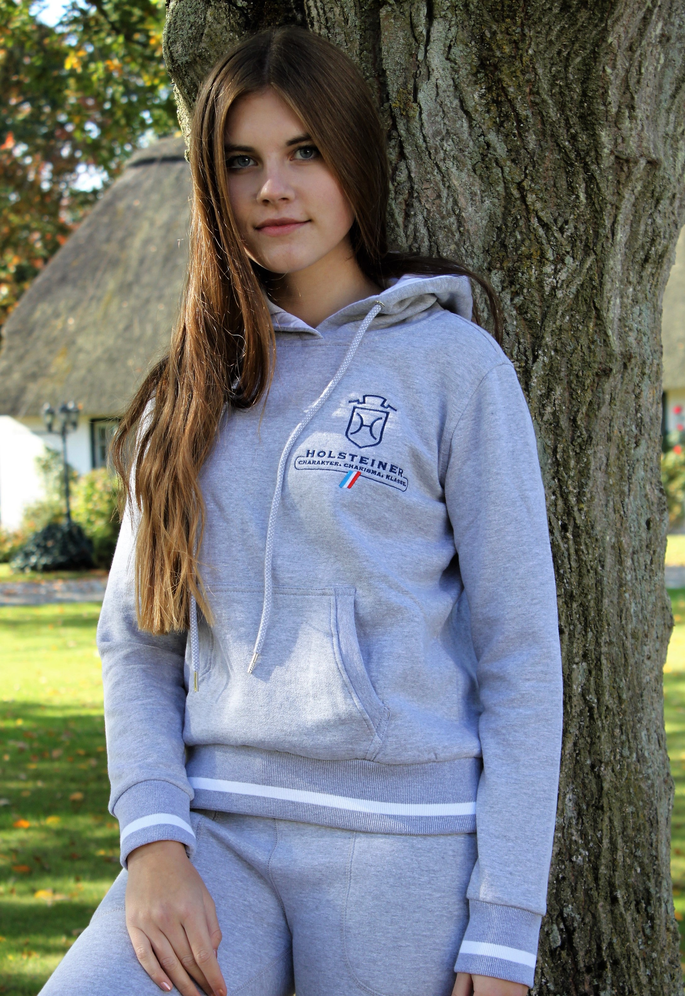 Kapuzen-Sweatshirt Club Hoody Ladies grey/heather/weiß (3045)