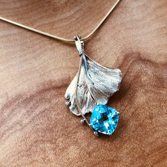 ginkgo blue topaz necklace