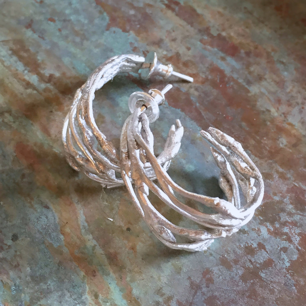 Budding Branch Hoop Earrings