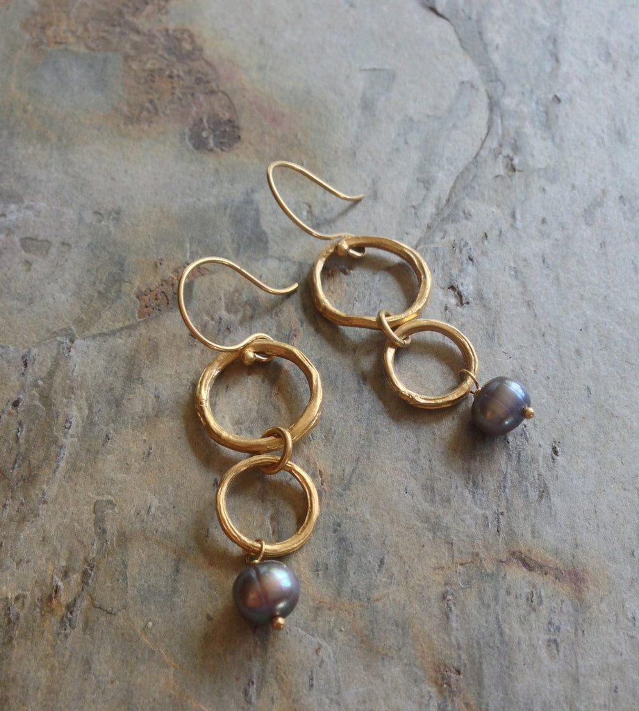 Twig Circle Double-Drop Earrings