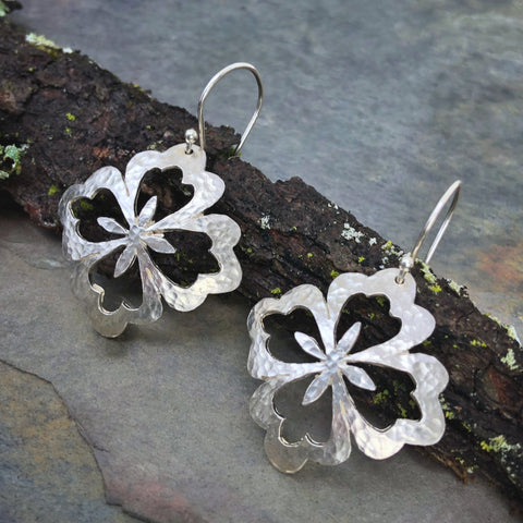 Asian Flower Large Earrings