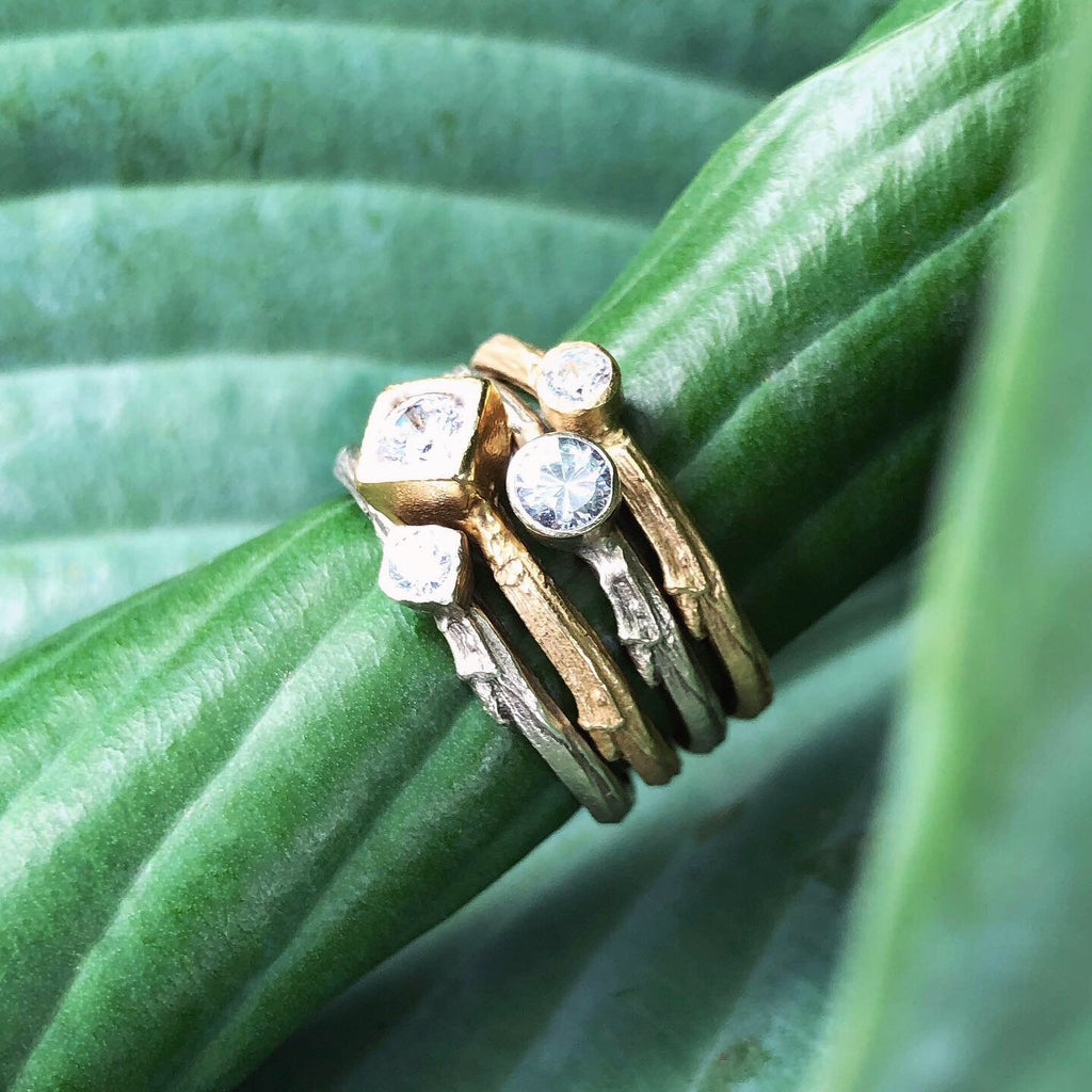 Branch Gemstone Stacking Rings - InBloomJewelry