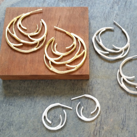 Small and Large Branch Hoop Earrings