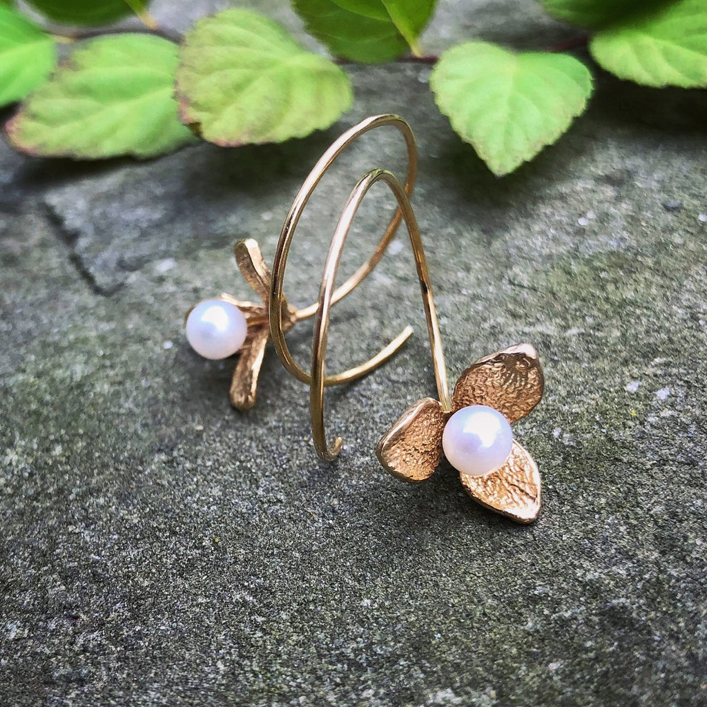 Bud Reverse Hoop Earrings in Gold - InBloomJewelry
