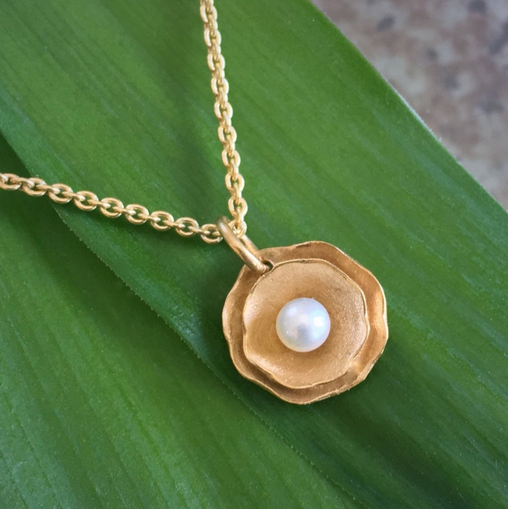Camellia Pendant with Pearl - InBloomJewelry