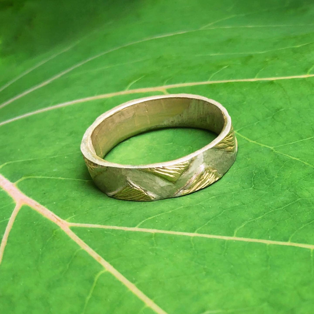 Carved Ginkgo Leaf Band - InBloomJewelry