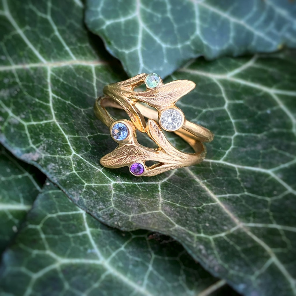 Double Leaf Gemstone Ring - InBloomJewelry