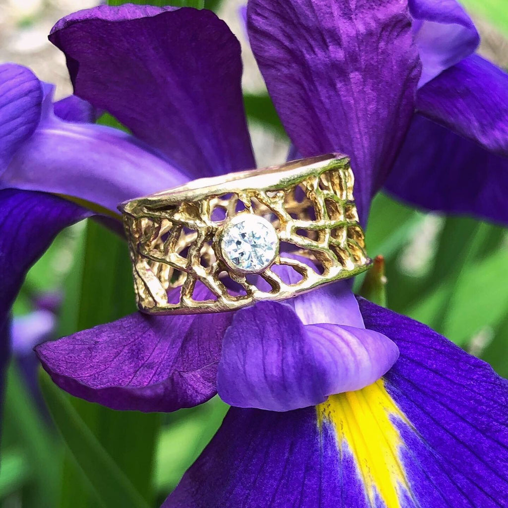 Fan Coral Diamond Band - InBloomJewelry
