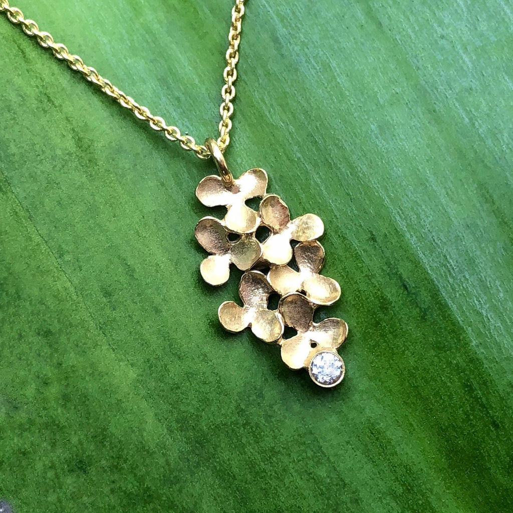 Flower Cluster Long Diamond Necklace - InBloomJewelry