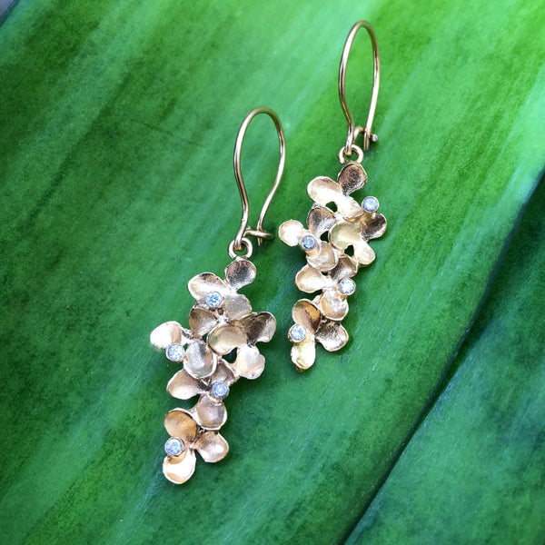 Flower Cluster Long Earrings with Diamond Accent - InBloomJewelry