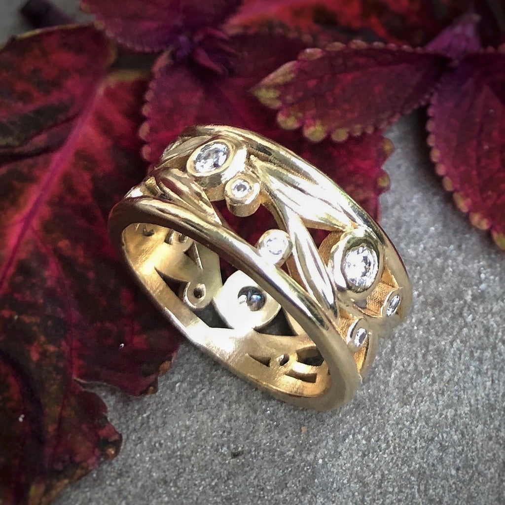 Framed Open Leaf Multi-stone Ring - InBloomJewelry