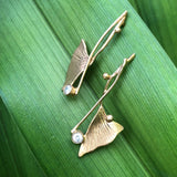 Ginkgo Crossover Earrings - InBloomJewelry