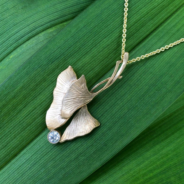 Ginkgo Triple Pendant with Diamond Accent - InBloomJewelry