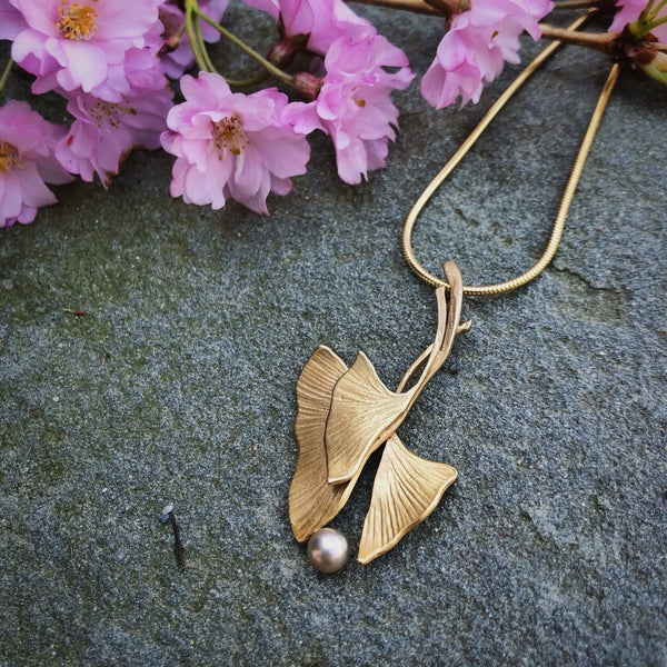 Ginkgo Triple Pendant with Pearl Accent - InBloomJewelry