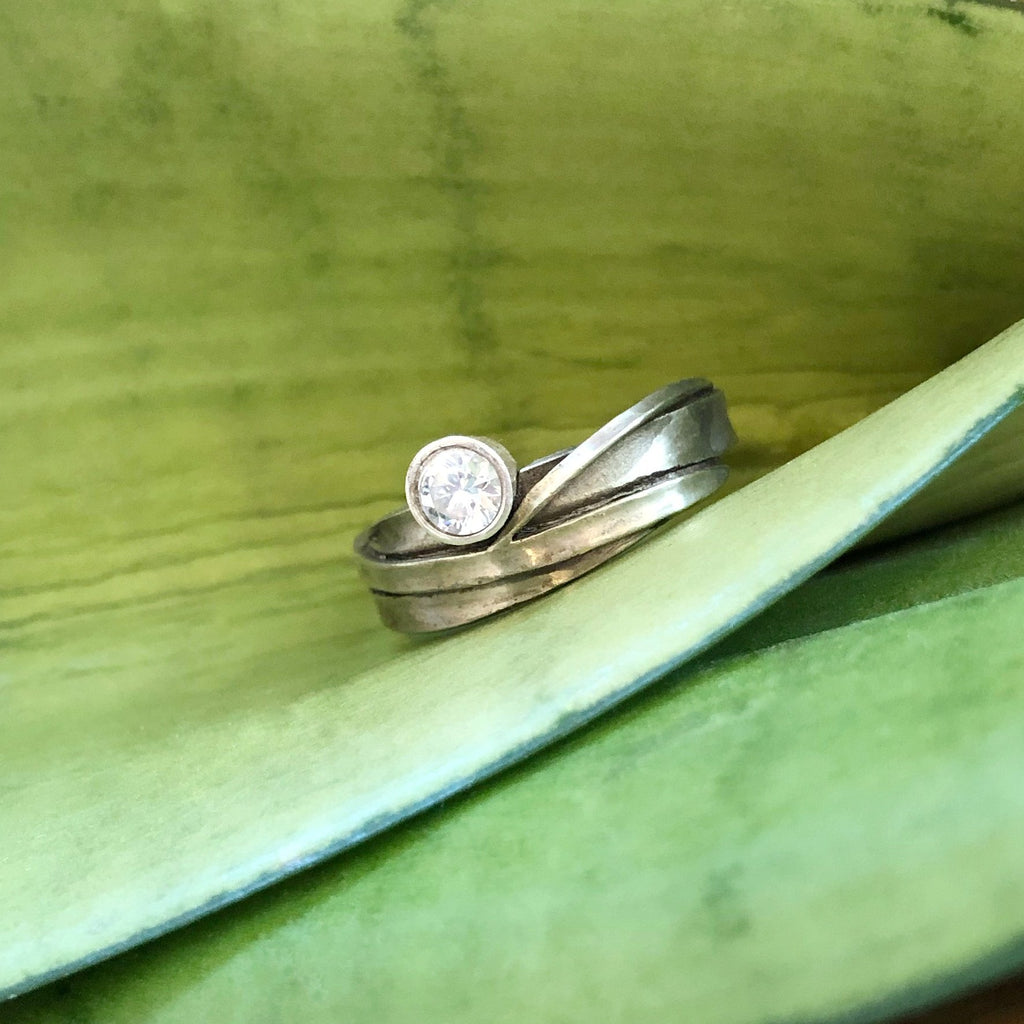 Leaf Wrap with Offset Diamond - InBloomJewelry