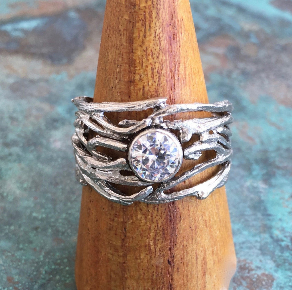 Multi-Branch Large Ring with Diamond - InBloomJewelry