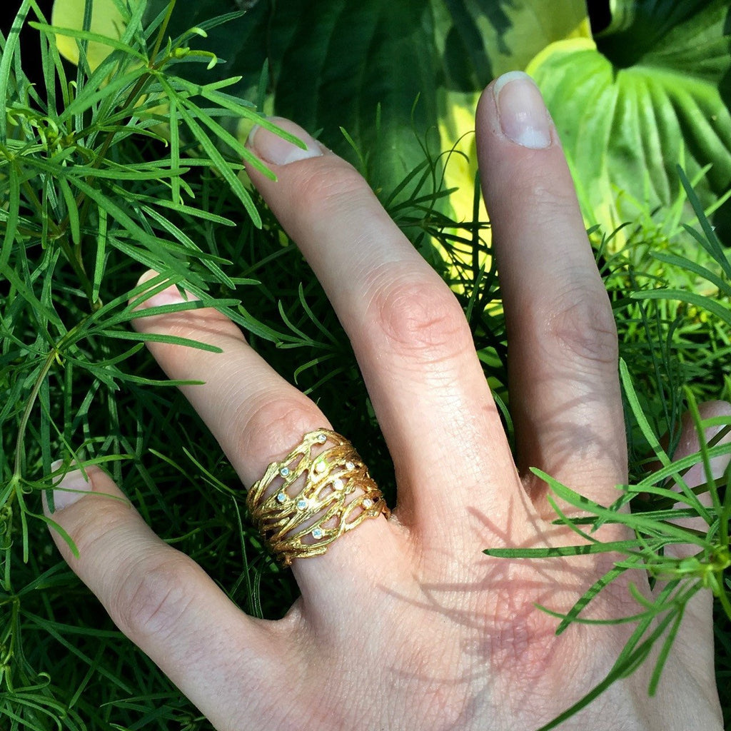 Multibranch ring w/Diamonds - InBloomJewelry