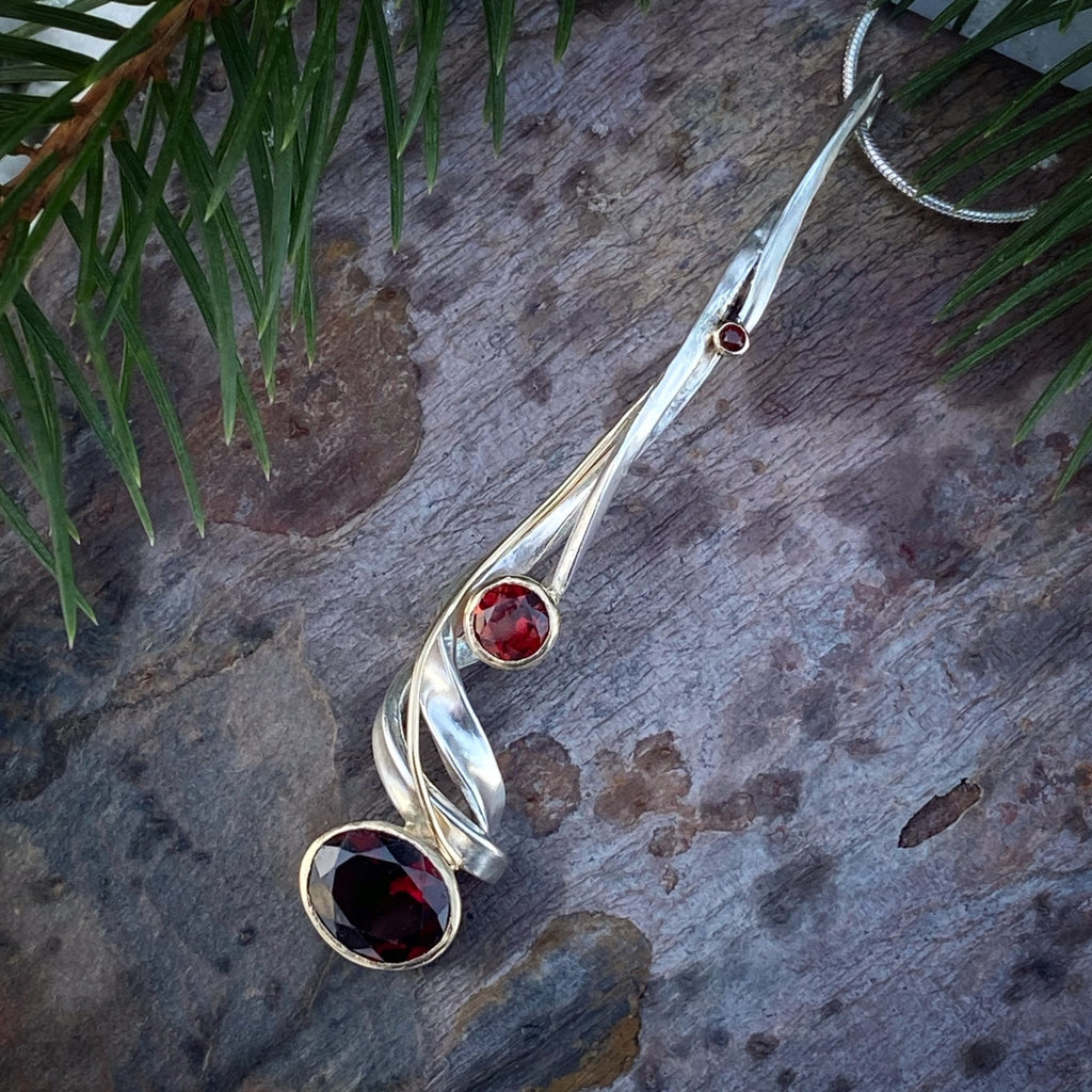 One of a Kind Garnet Tendril Pendant - InBloomJewelry