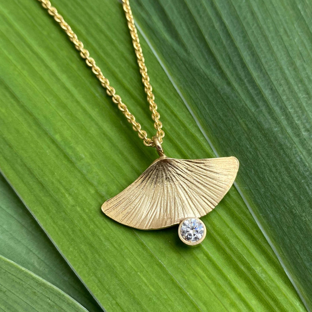 One of a Kind Ginkgo Diamond Pendant - InBloomJewelry