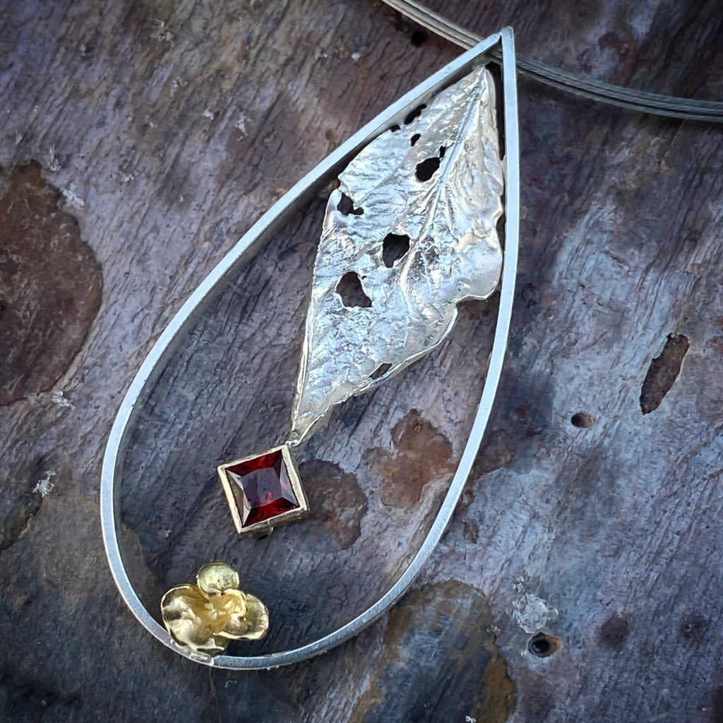 One of a Kind Teardrop Frame Pendant with Garnet - InBloomJewelry