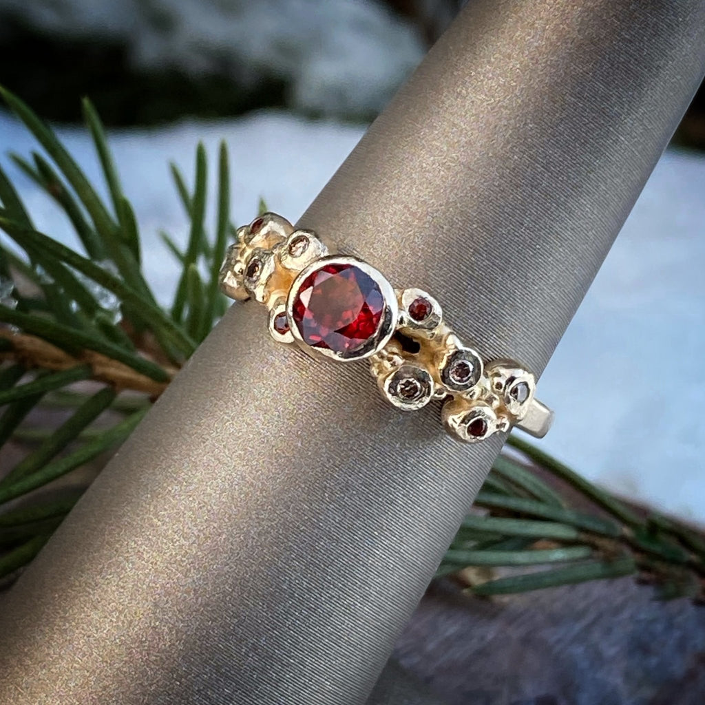 Perfectly Imperfect Garnet Solitaire Ring - InBloomJewelry
