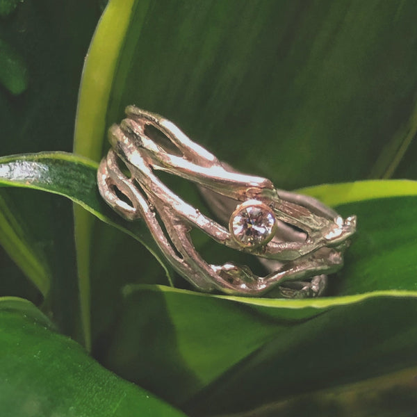 Small Branch Ring with Diamond Accent - InBloomJewelry